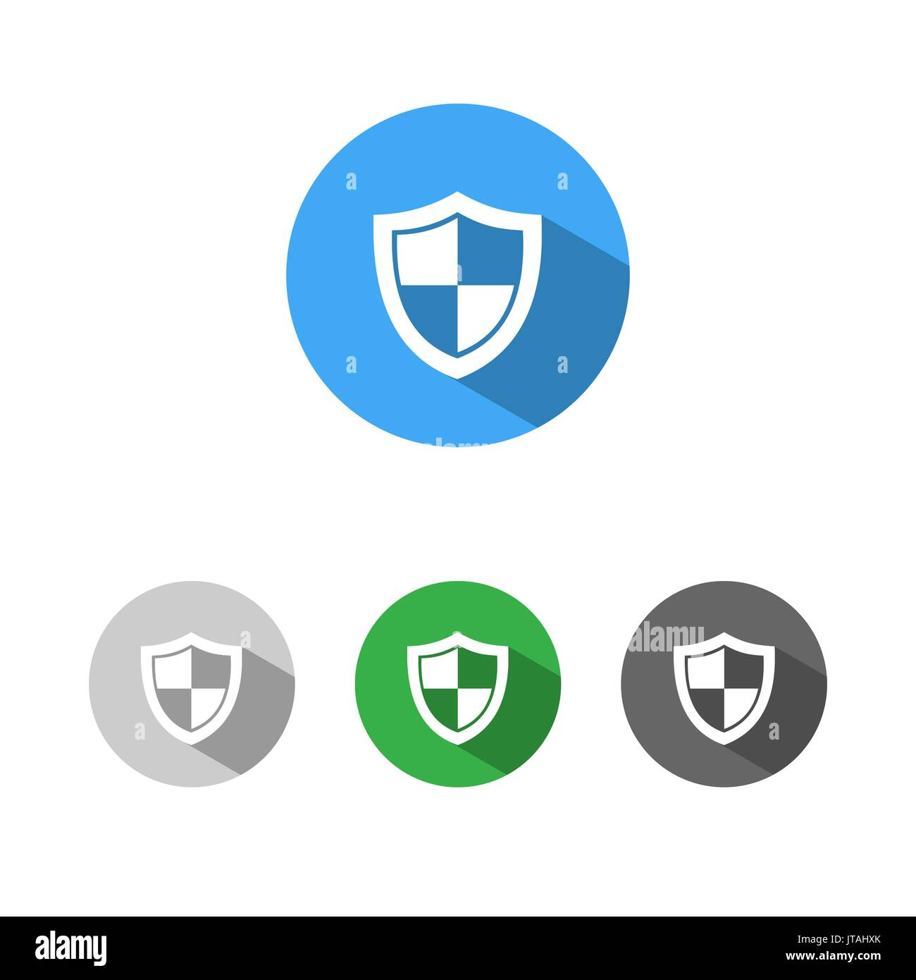 High security shield icon with shade on colored buttons - Stock Image