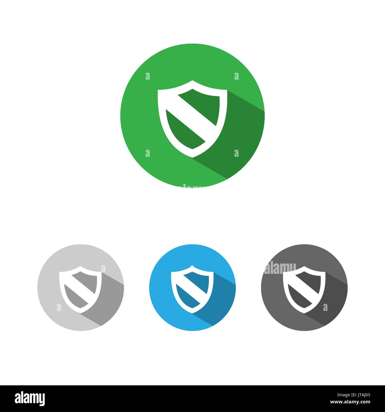 Protection shield icon with shade on colored buttons - Stock Image