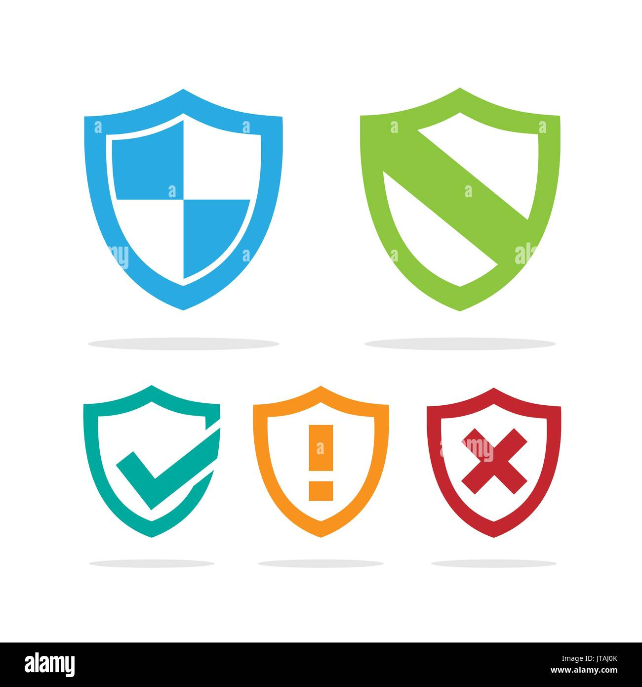 Set of colored protection shield icons on a white background - Stock Image