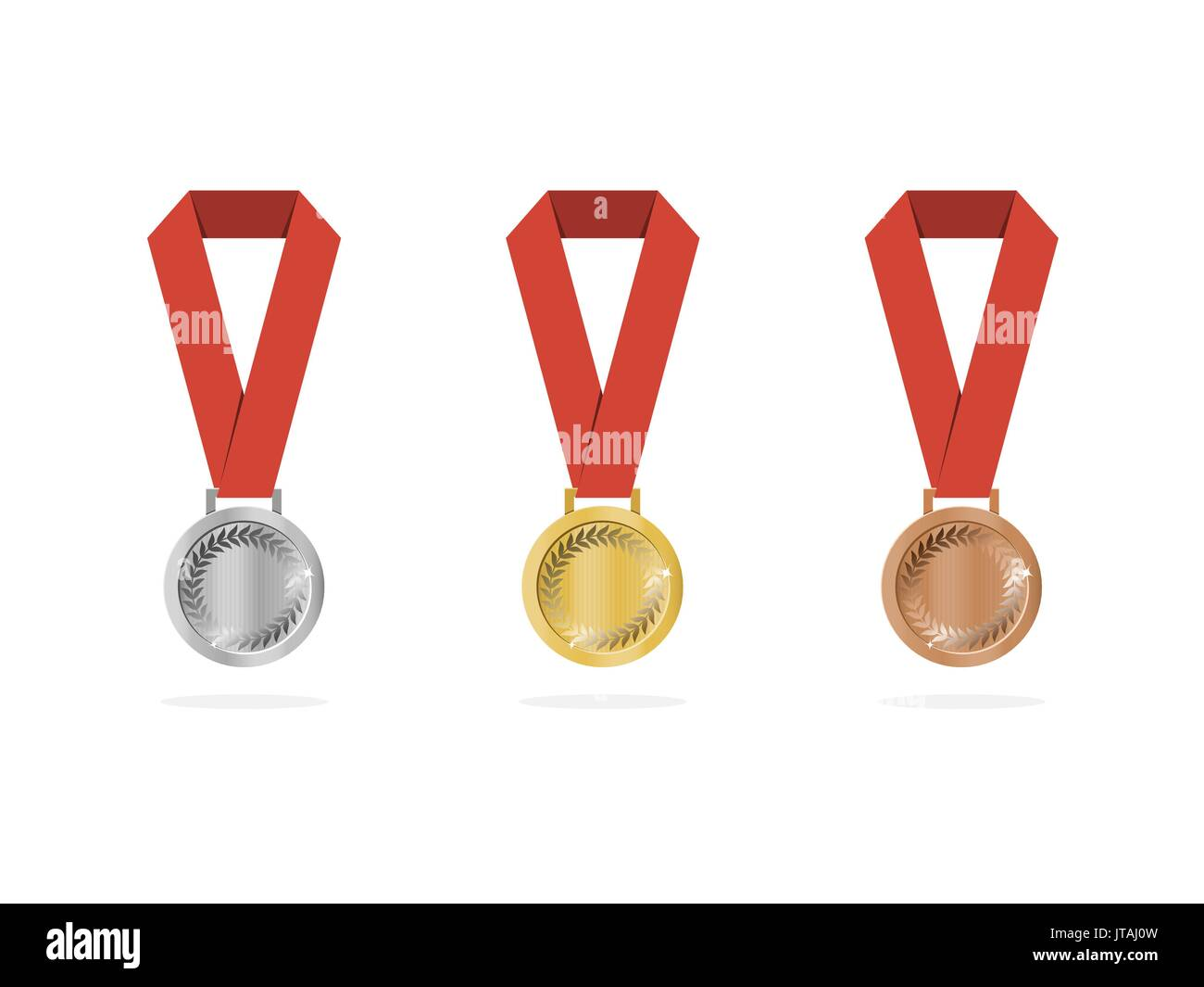 Sports medals with shade on white background - Stock Vector