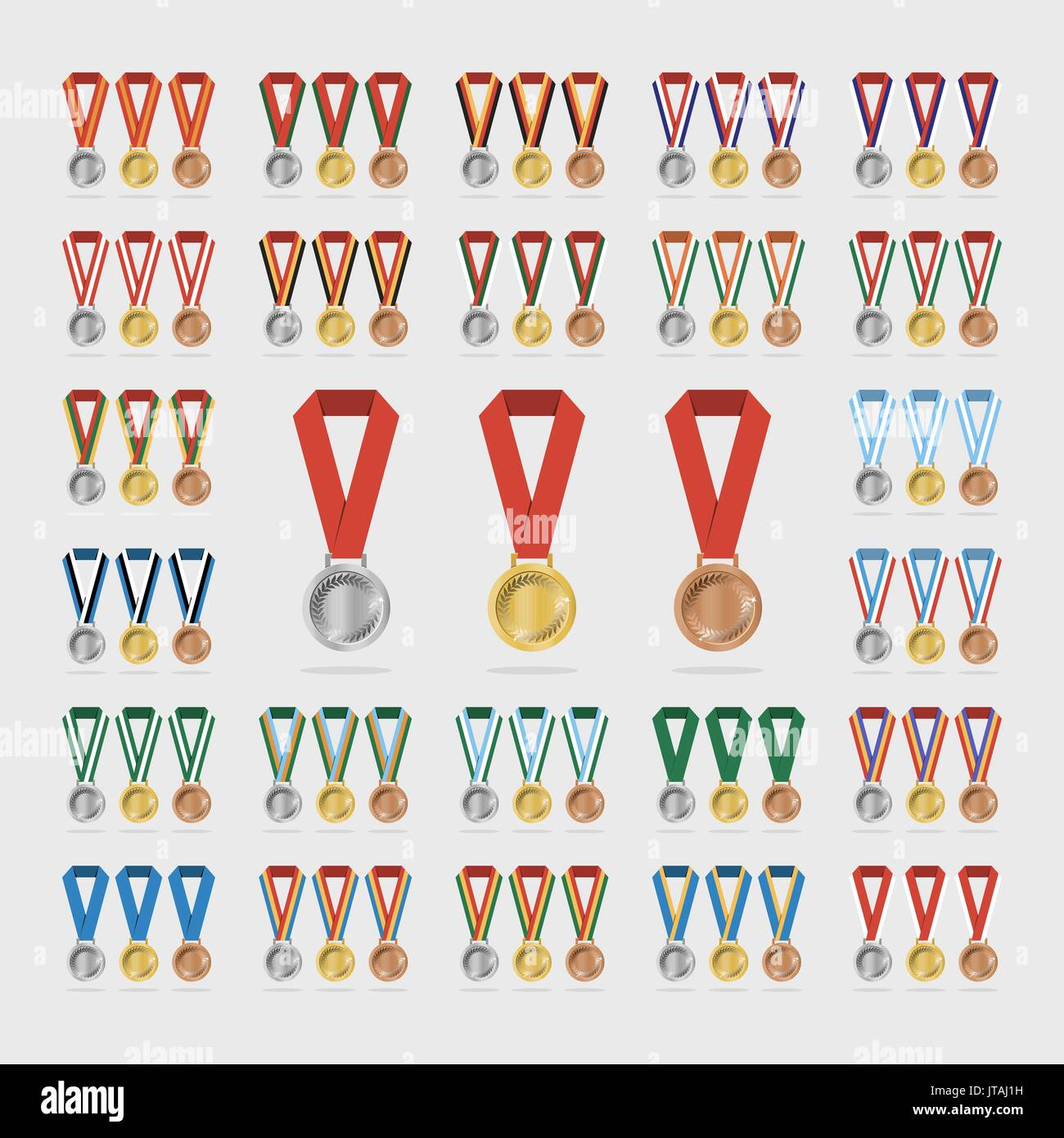 Universal sports medals with shade on white background - Stock Vector