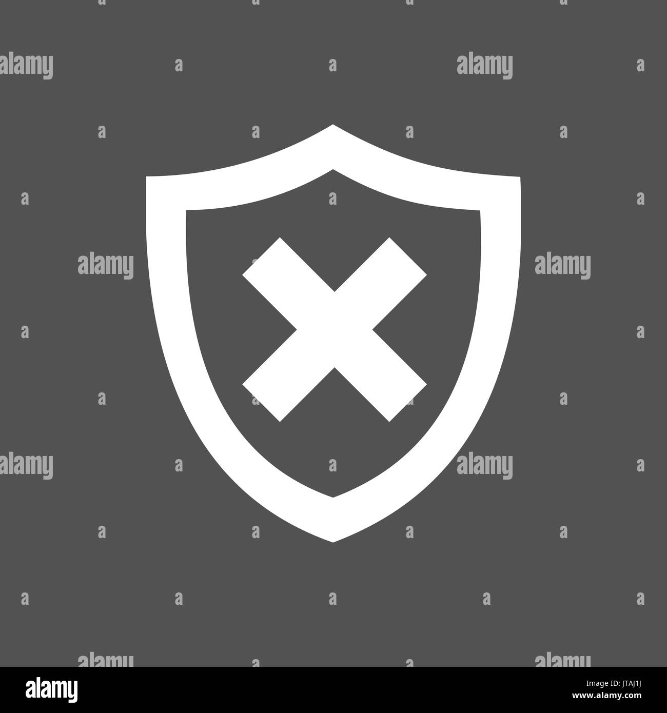 Unprotected shield icon on a dark background - Stock Image
