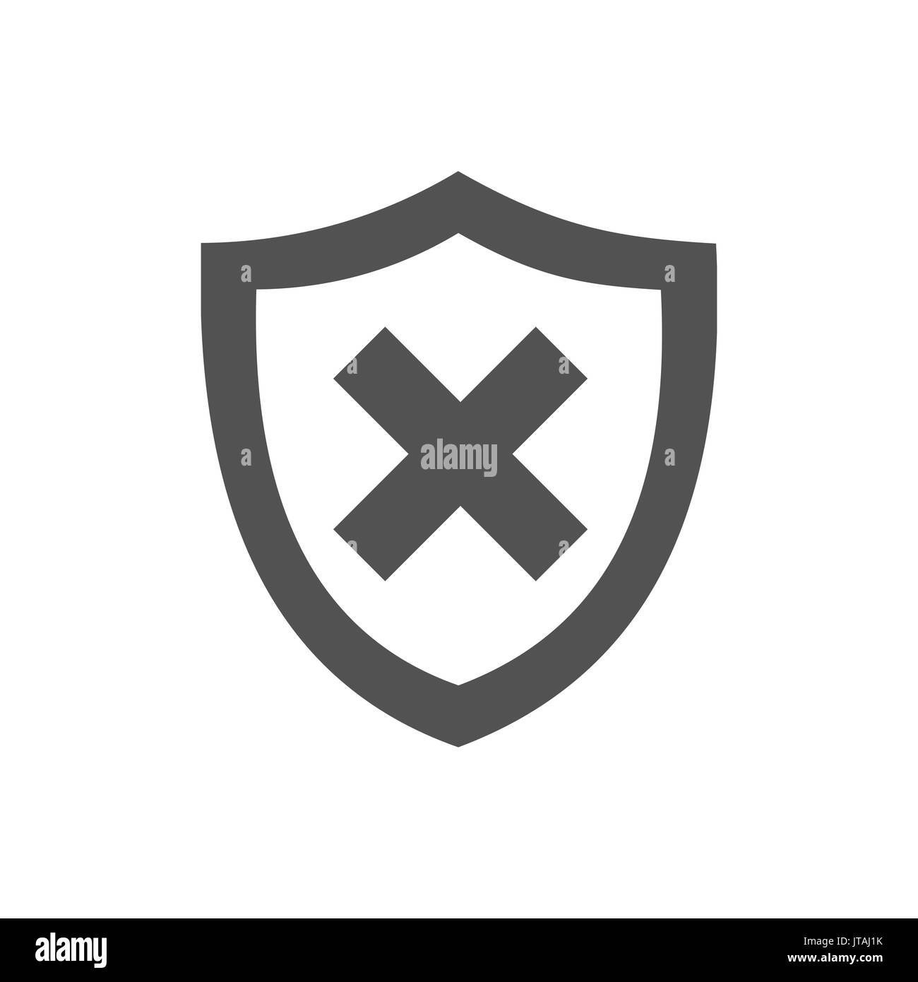 Unprotected shield icon on a white background - Stock Image