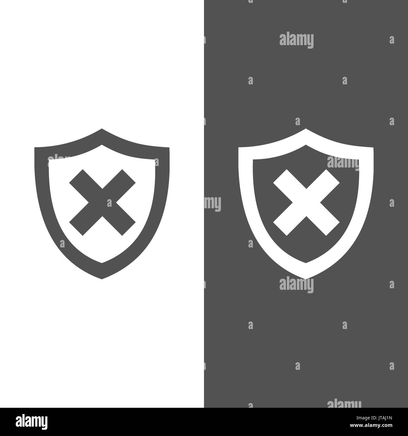 Unprotected shield icon on black and white background - Stock Image