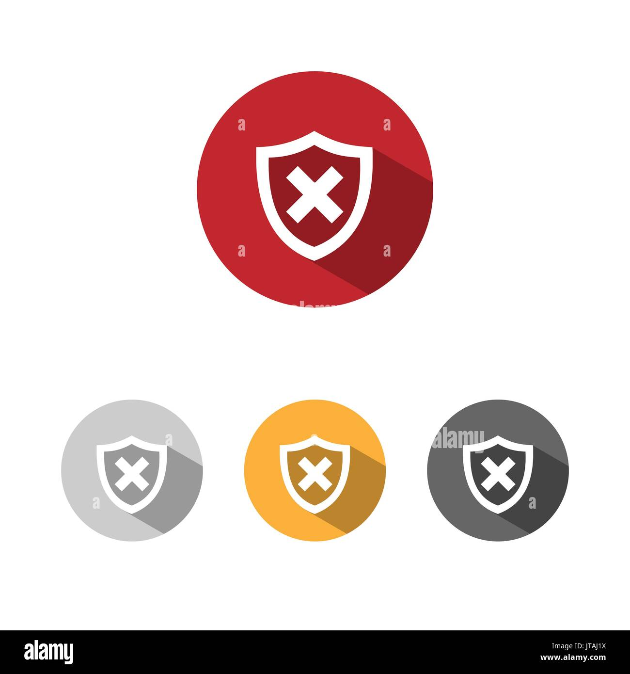 Unprotected shield icon with shade on colored buttons - Stock Image