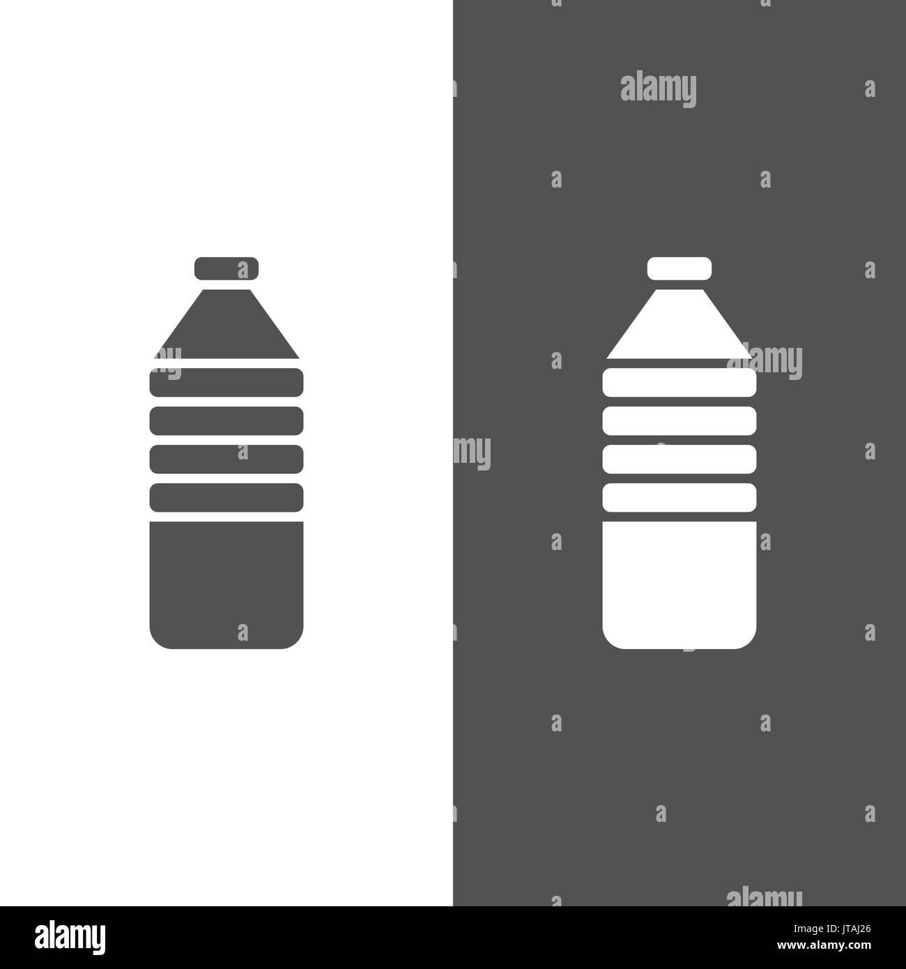 Water bottle icon on black and white background - Stock Vector