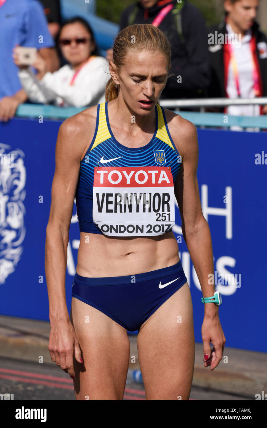 Tetyana Vernyhor of Ukraine crossing the finish line at the end of the IAAF World Championships 2017 Marathon race in London, UK. Space for copy - Stock Image