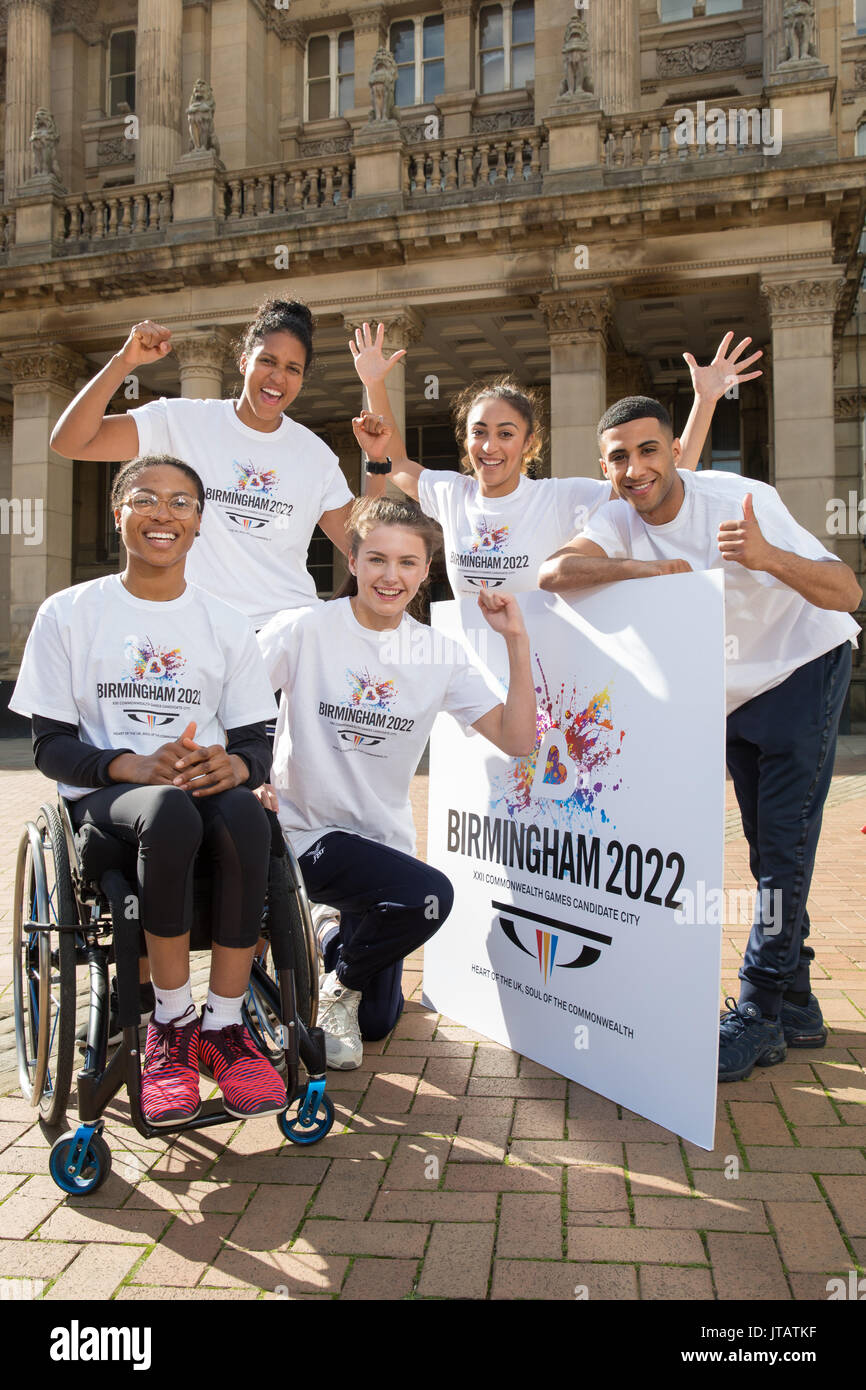 Five athletes supporting the Birmingham 2022 Commonwealth Games Bid - Stock Image