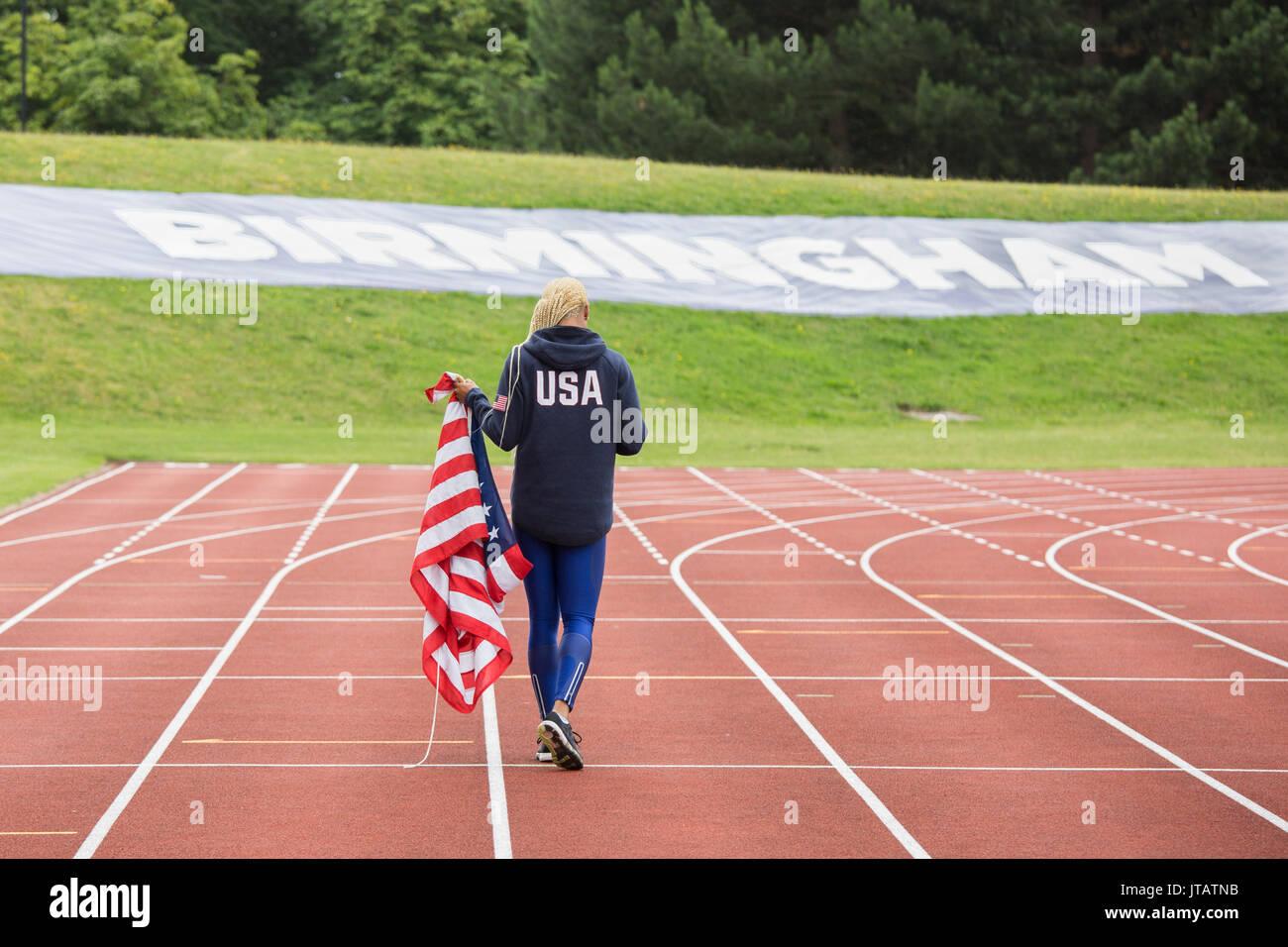 USA athlete sprinter Natasha Hastings at the Alexander Stadium in Birmingham,UK - Stock Image