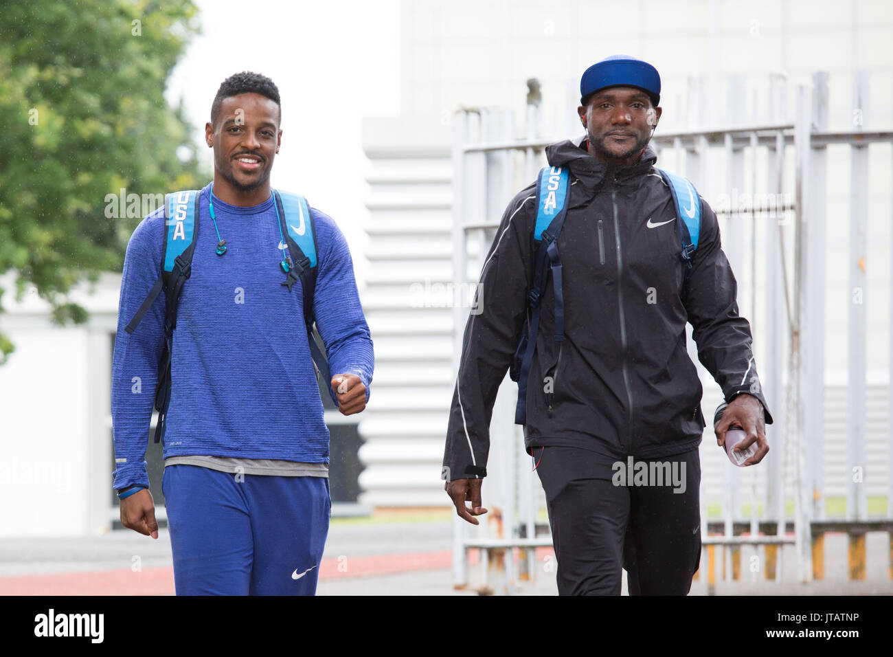 Justin Gatlin, right and Isiah Young, left about to start training for the World Athletic championships at their camp in Birmingham UK - Stock Image