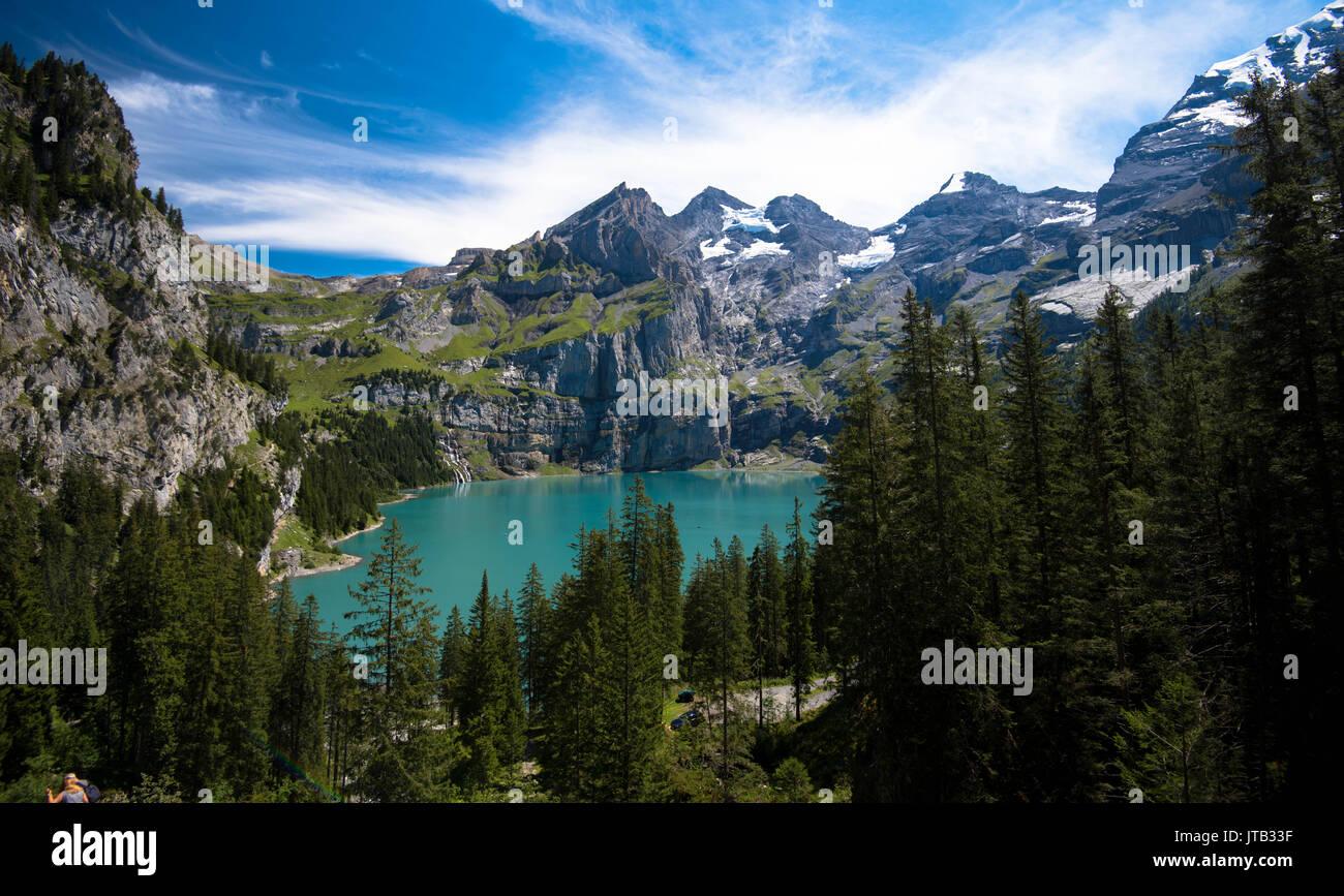 Stunning view to the lake Oeschinen in Switzerland - Stock Image