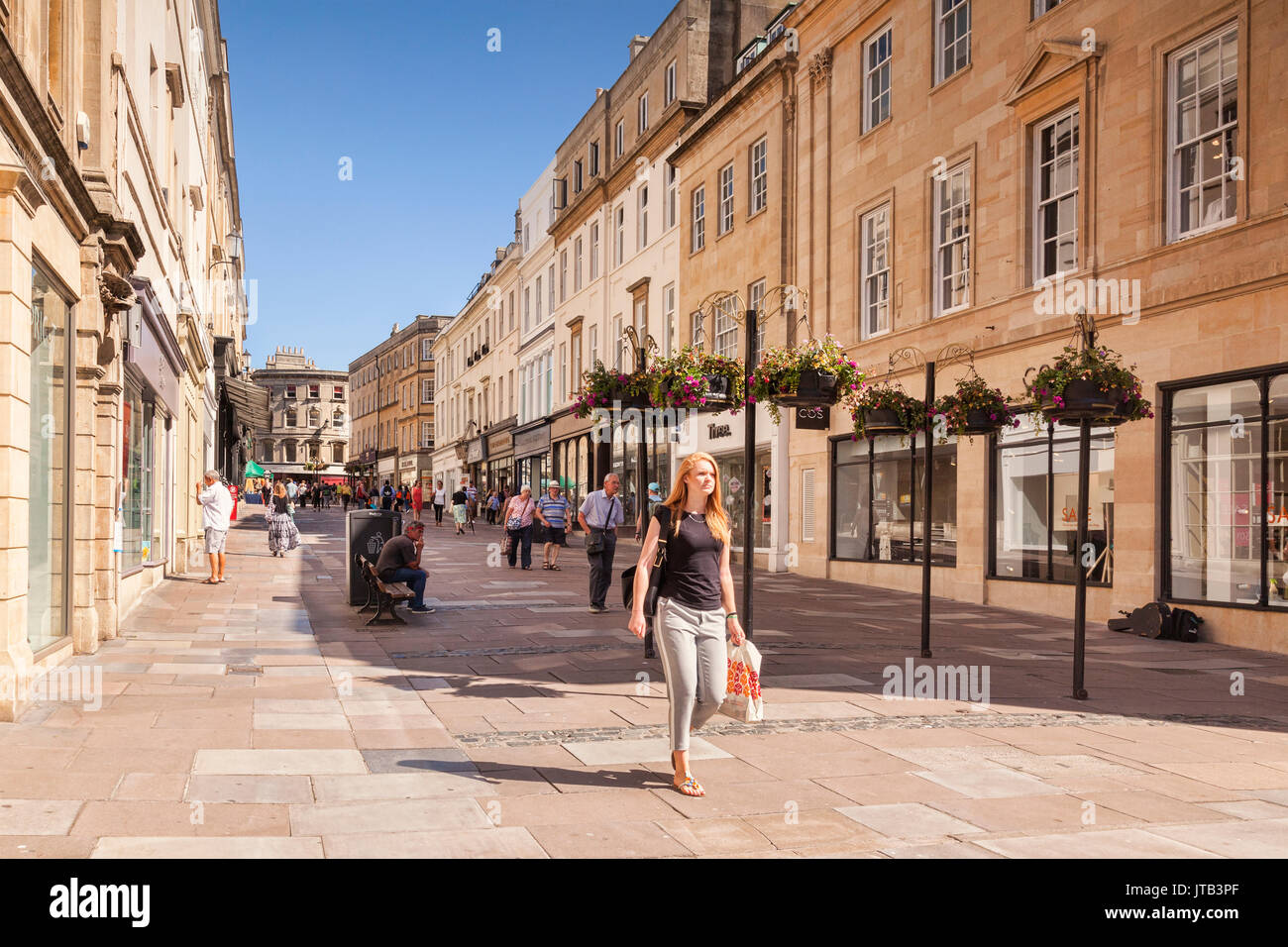5 July 2017: Bath, Somerset, England, UK - Shopping in Union Street, in the city centre, on a beautiful summer day. Stock Photo