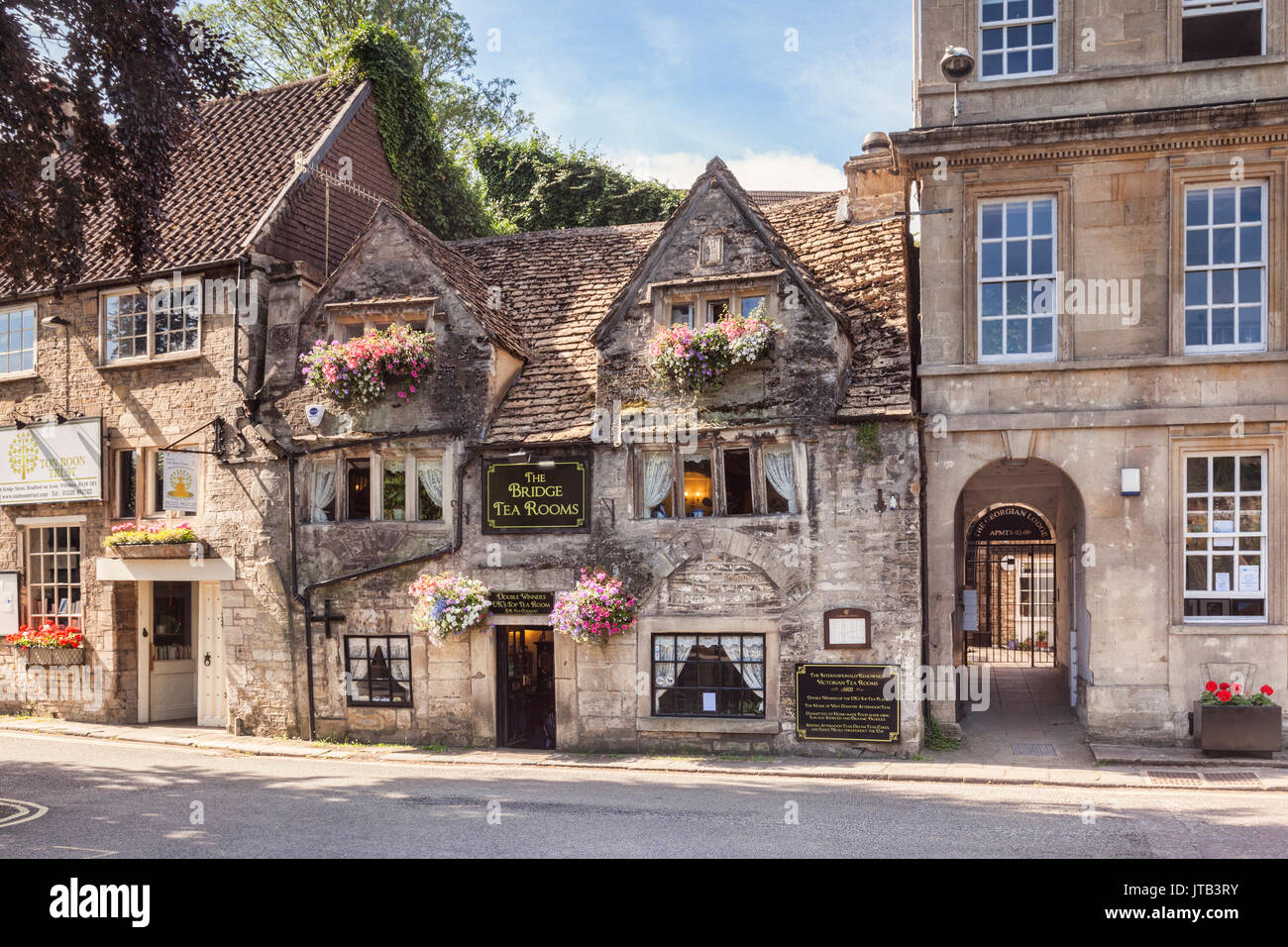 7 July 2017: Bradford on Avon, Somerset, England, UK - The 16th century Bridge Tea Rooms, one of the top places in the UK for afternoon tea. - Stock Image