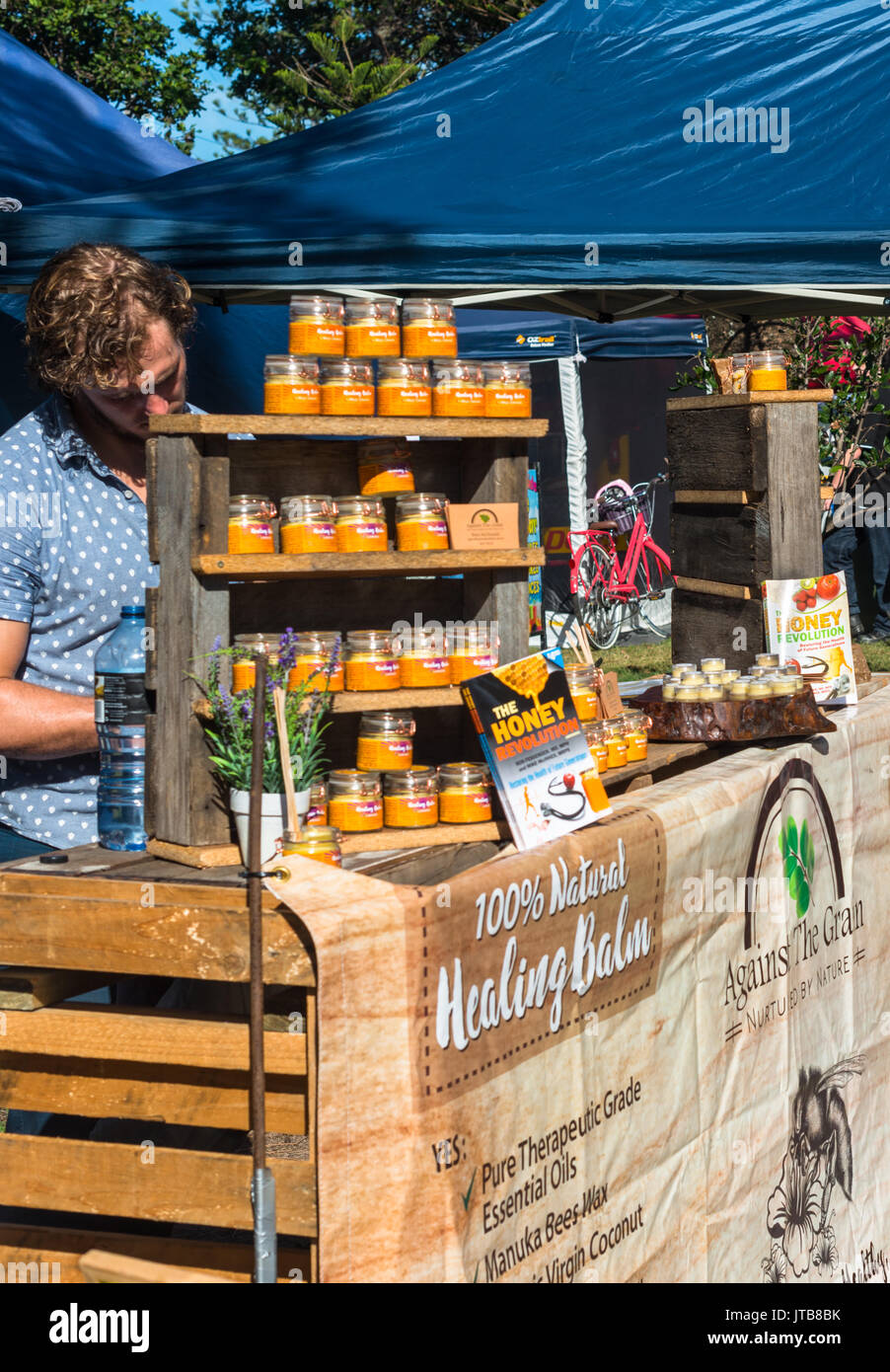 Healing balm made of local honey at Harbourside markets at Coffs Harbour, New South Wales, Australia. - Stock Image