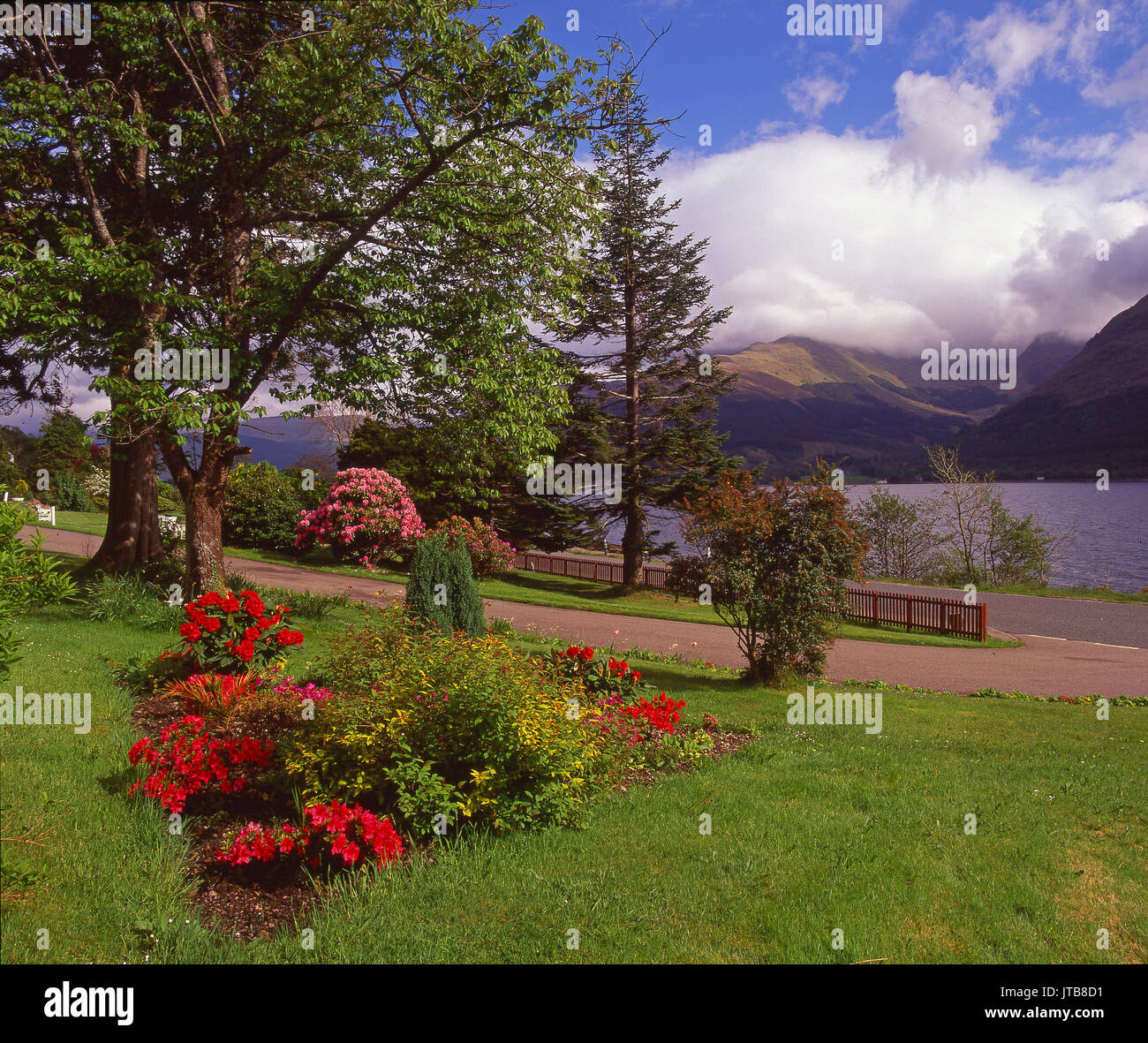 Beautiful spring view from Onich on the north side of Loch Leven looking towards Ballachulish hills, Onich, West Highlands - Stock Image