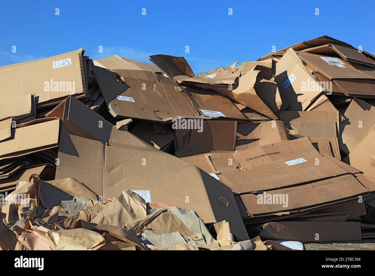 Recycling company, stock waste paper, cardboard, Recyclingbetrieb, Lager Altpapier, Kartons Stock Photo
