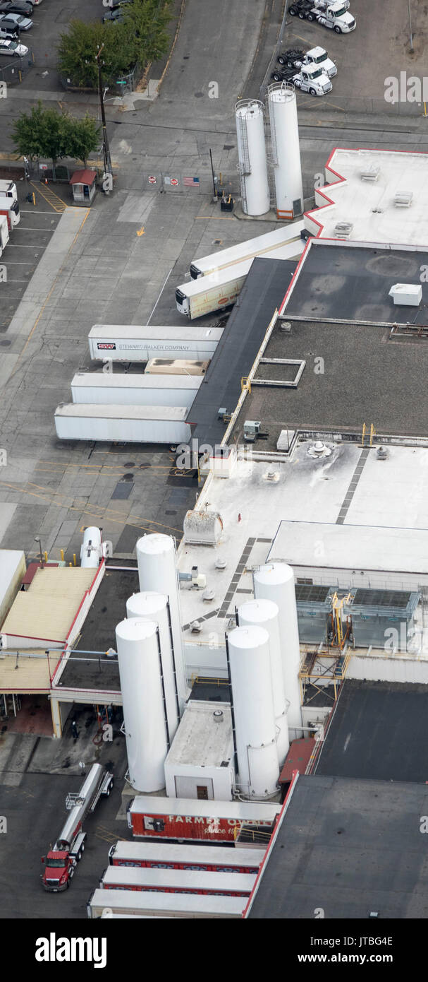 aerial view of Darigold Milk processing products plant, 4058 Rainier Ave S, Seattle, Washington State, USA Stock Photo