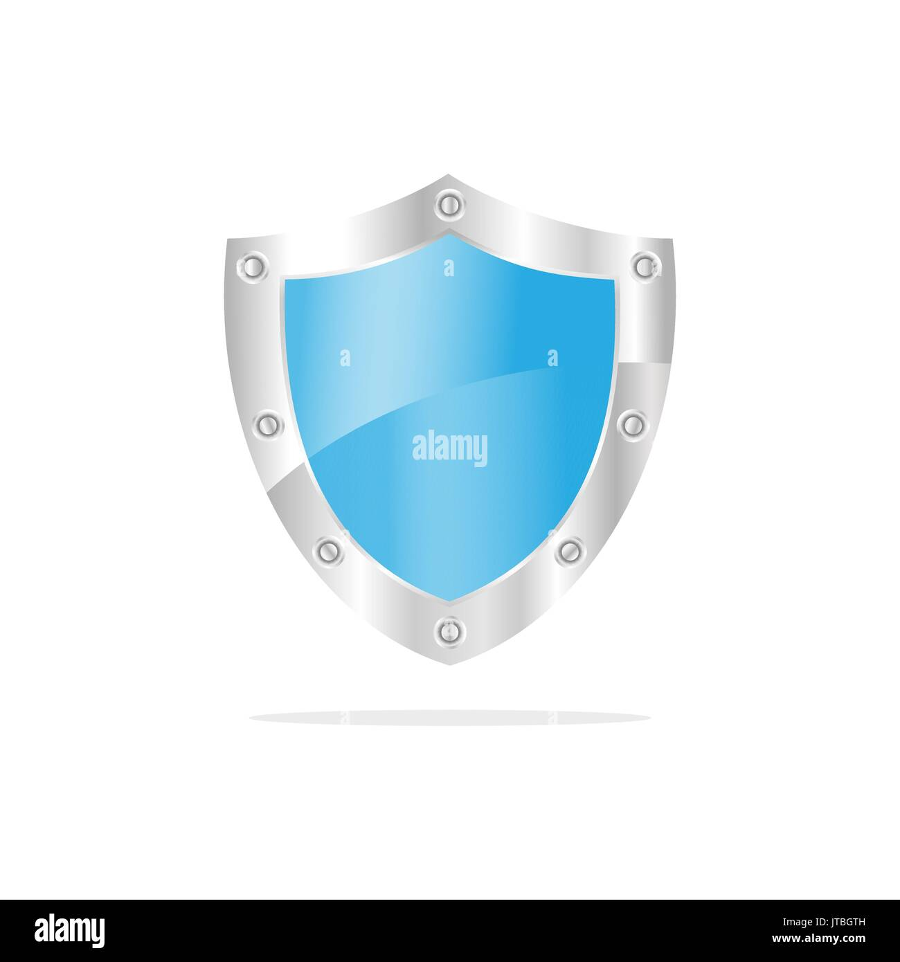 3D Blue security shield on a white background Stock Vector