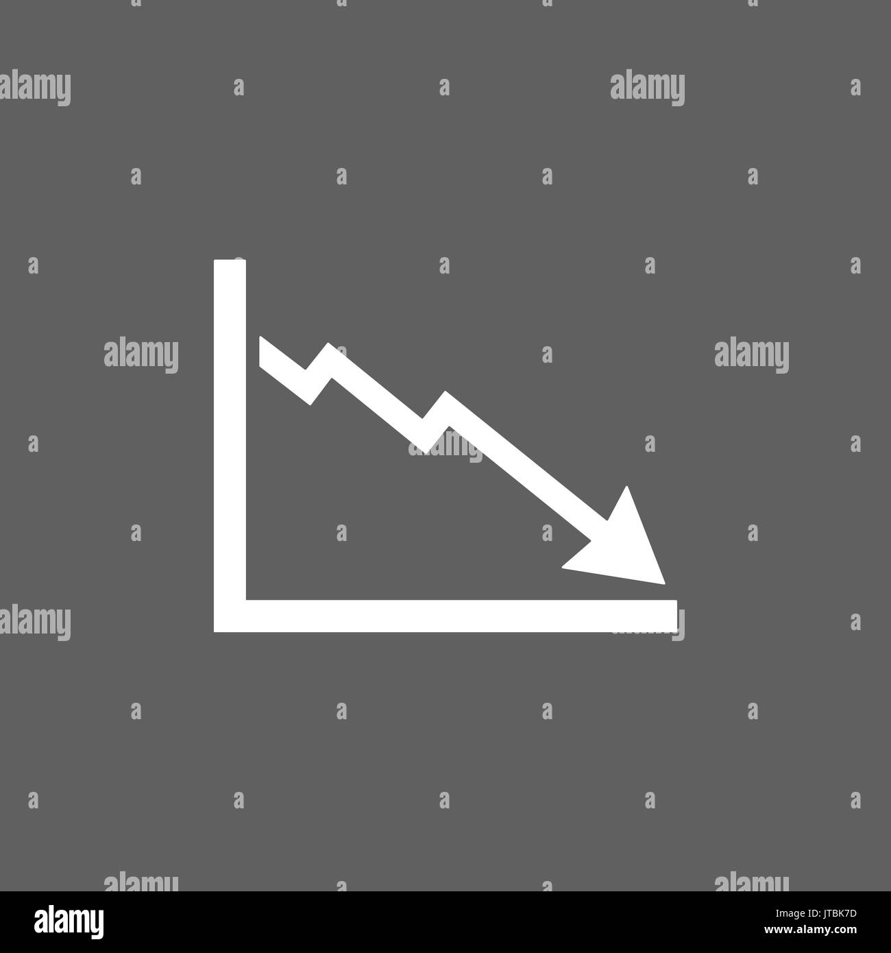 Bankruptcy chart icon on dark background - Stock Image