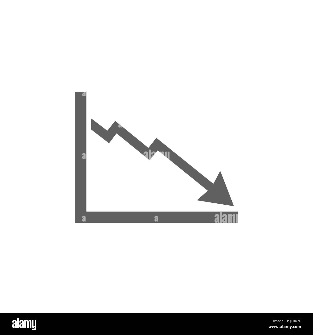 Bankruptcy chart icon on white background - Stock Image
