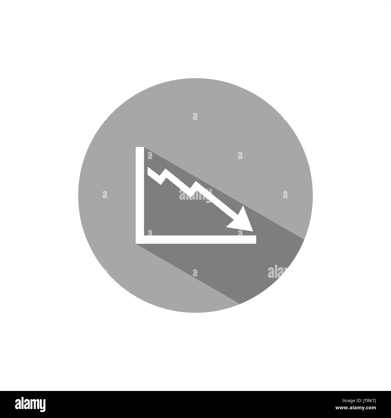 Bankruptcy chart icon with shade on grey button - Stock Image