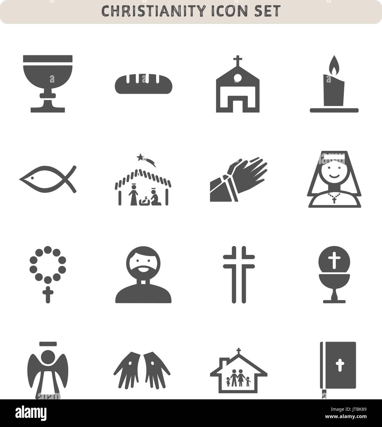 Christianity icons set on white background - Stock Vector