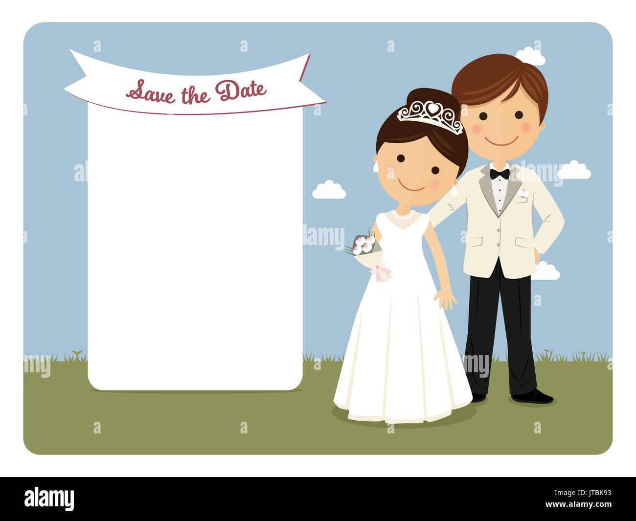 Princely Style Couple For Wedding Invitation On Blue