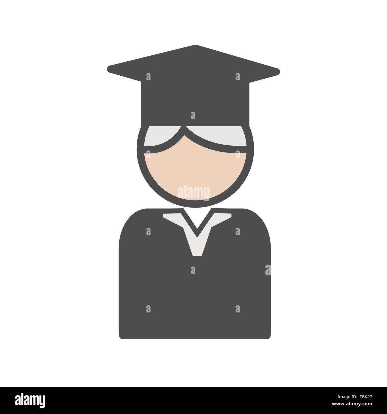 Professor icon with mortarboard and grey hair - Stock Vector