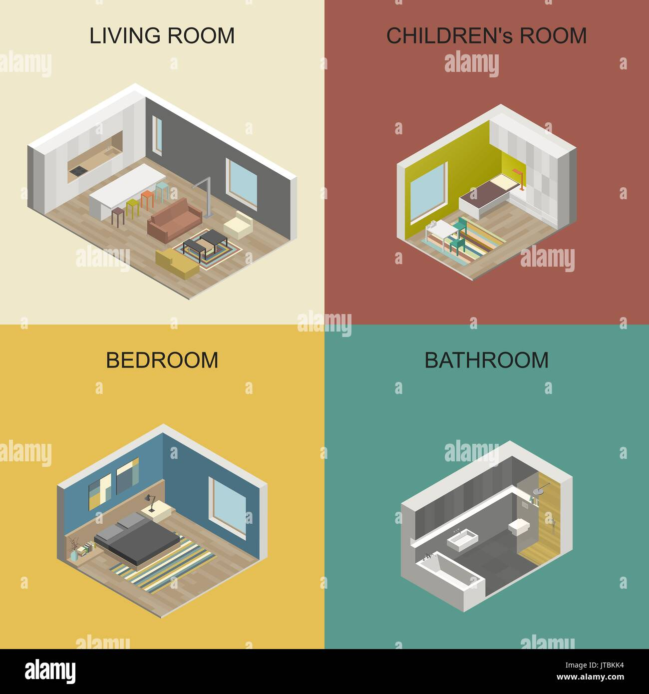 Isometric rooms - Stock Image