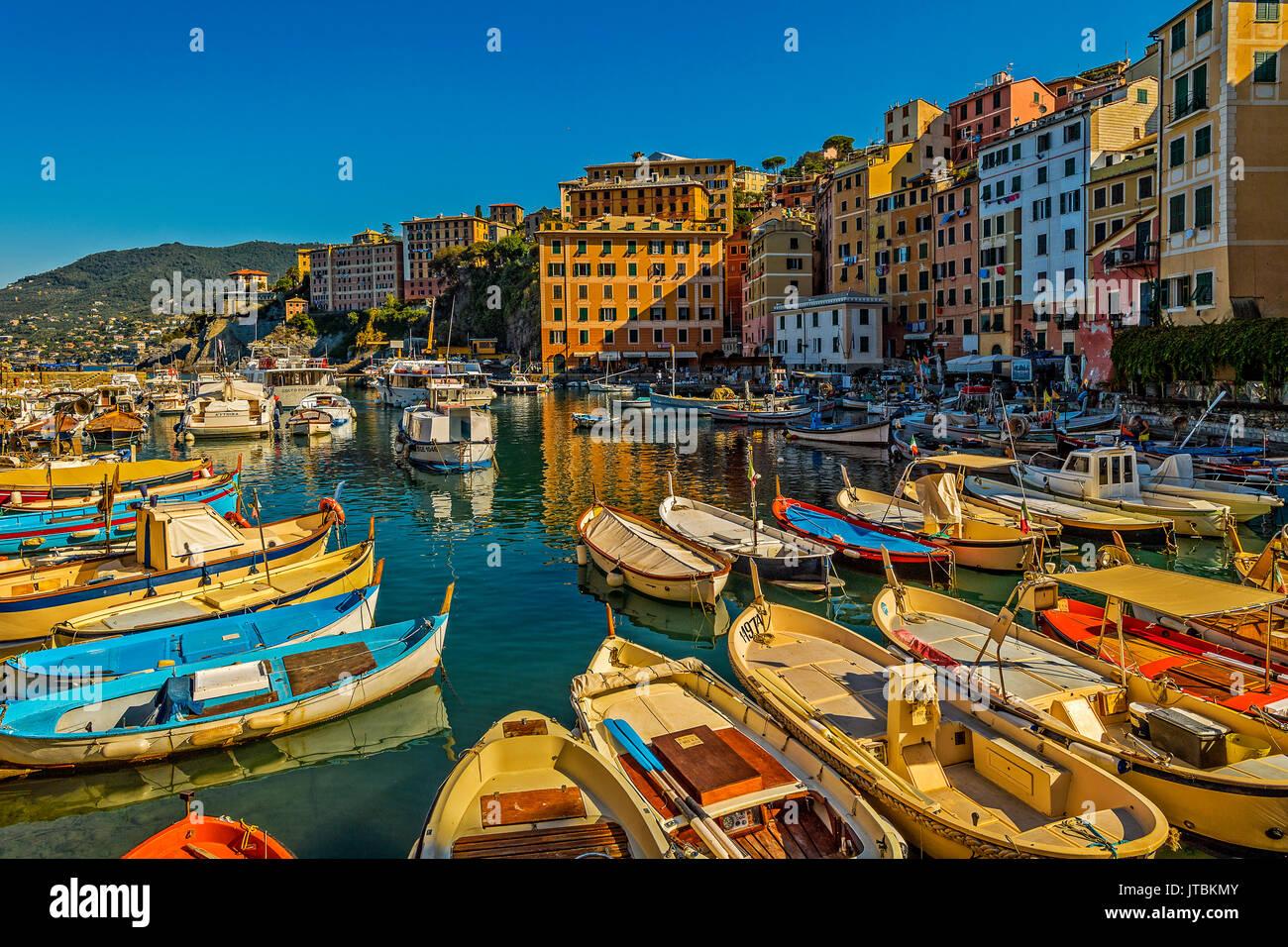 Italy Liguria Camogli view of the fisher port - Stock Image