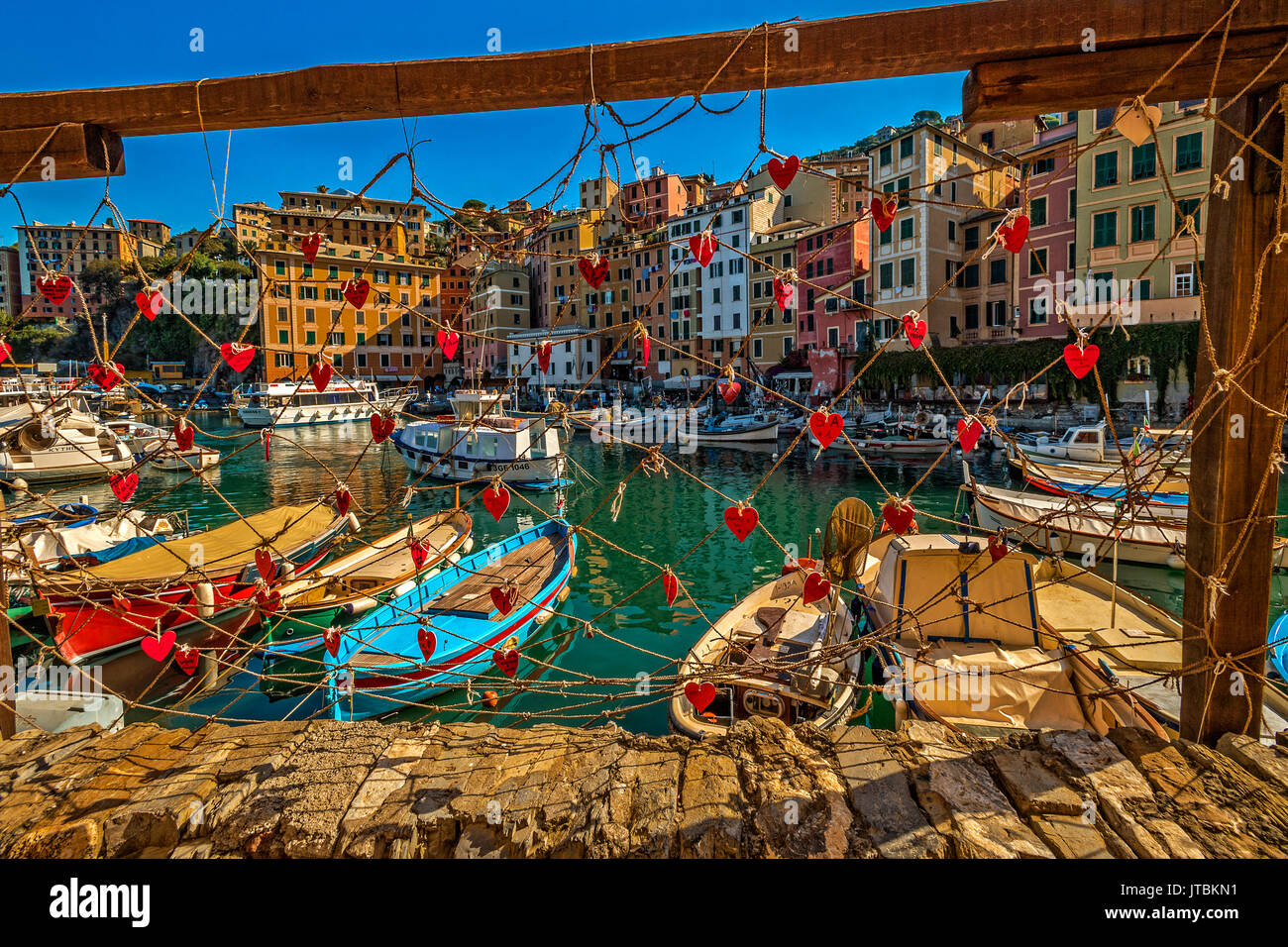 Italy Liguria Camogli view of the fisher port Stock Photo