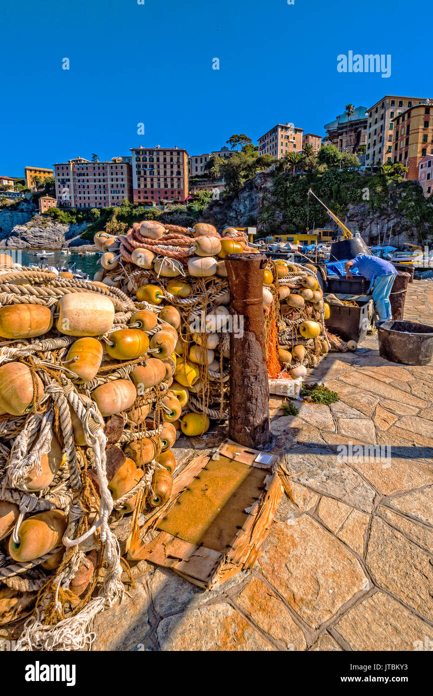 Italy Liguria Camogli view of the fisher port - Stock Image