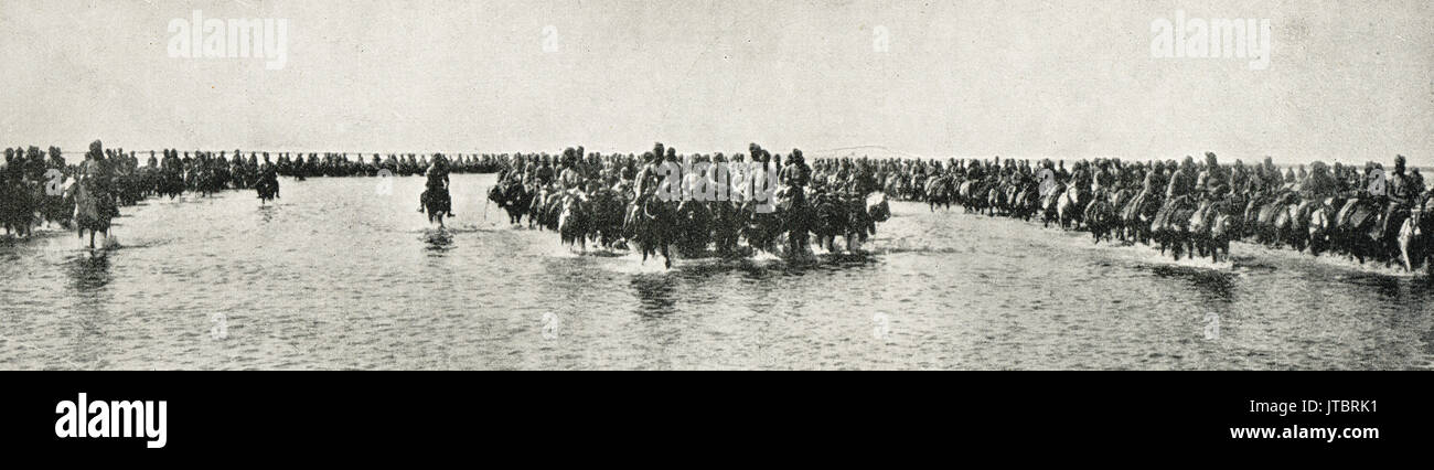 Indian cavalry at Basra crossing floods Stock Photo