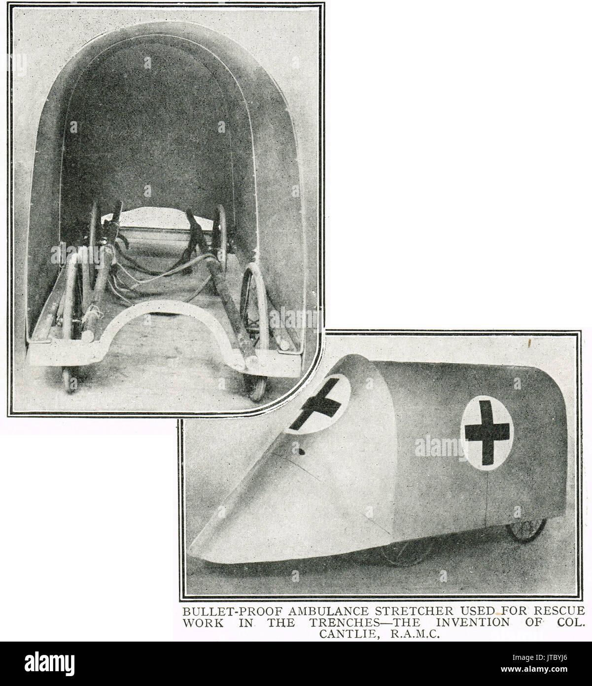 Bullet proof ambulance stretcher, WW1 - Stock Image