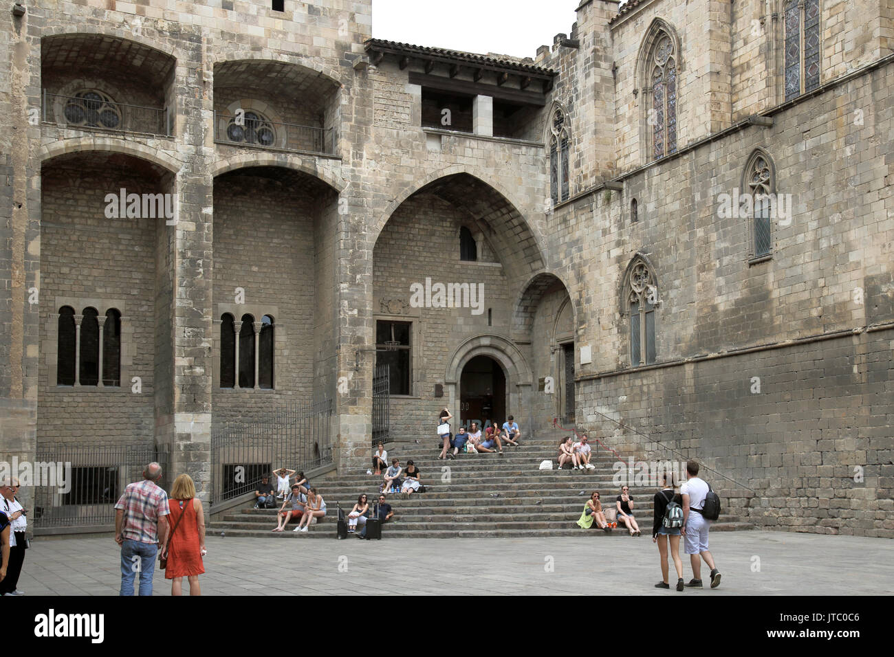 placa del rai in the old town of barcelona spain - Stock Image