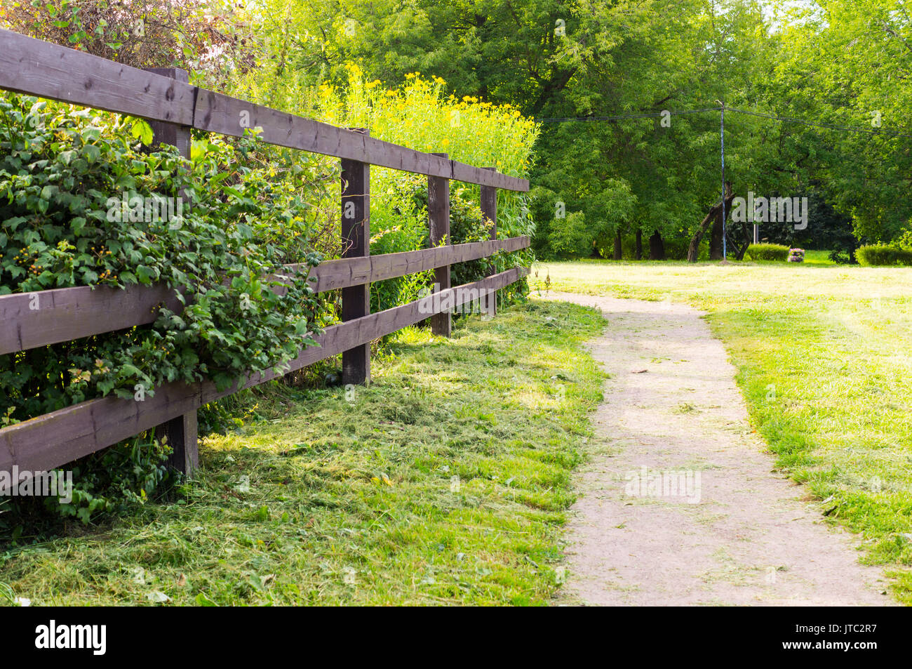 Country Road With Wooden Fence Background Travel Nature