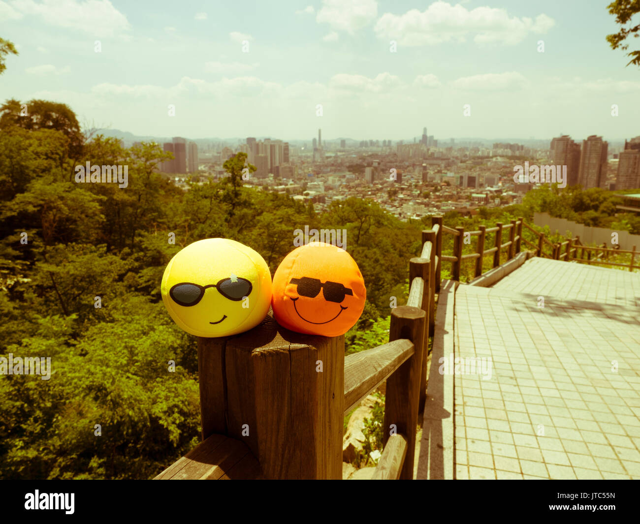 Retro styled view of Seoul from the Namsan Mountain, South Korea - Stock Image