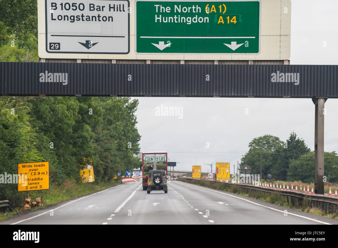 A road sign showing directions for the North on a main road in the Uk - Stock Image