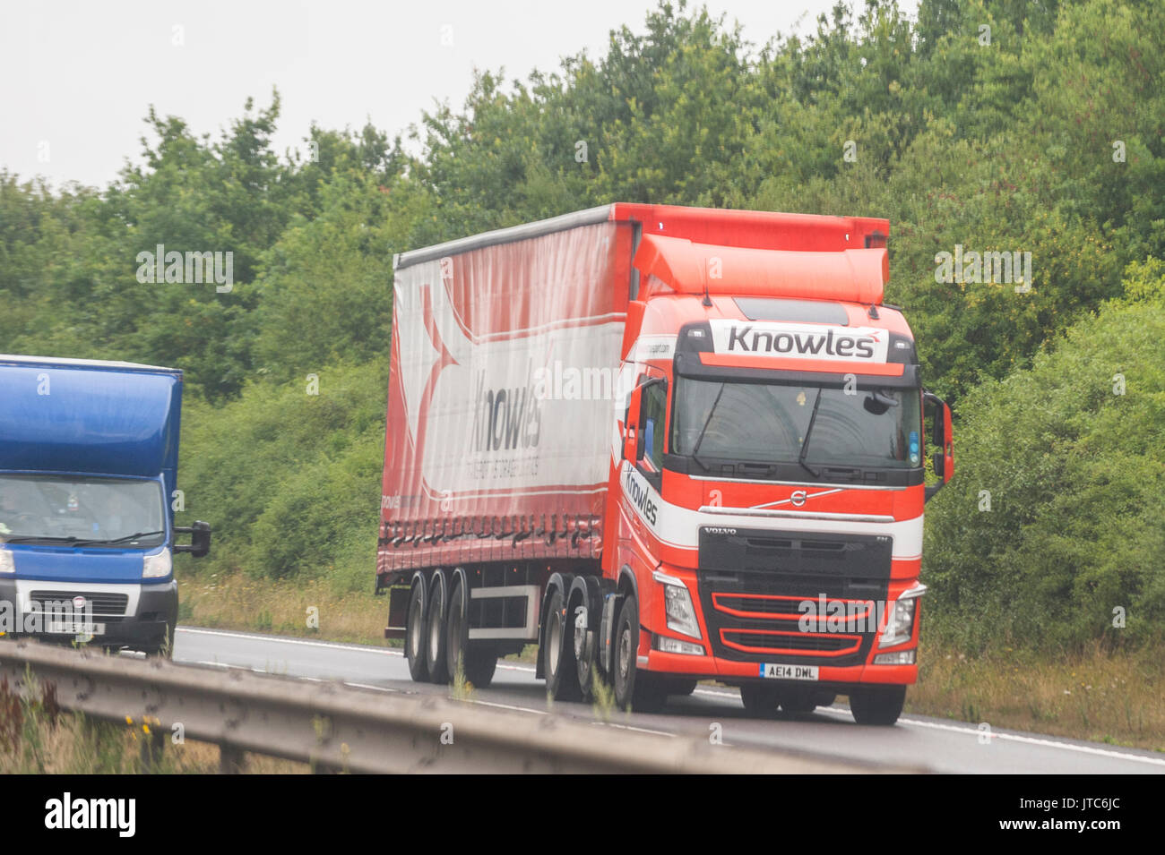A Volvo HGV Lorry driving on a main road in the Uk - Stock Image