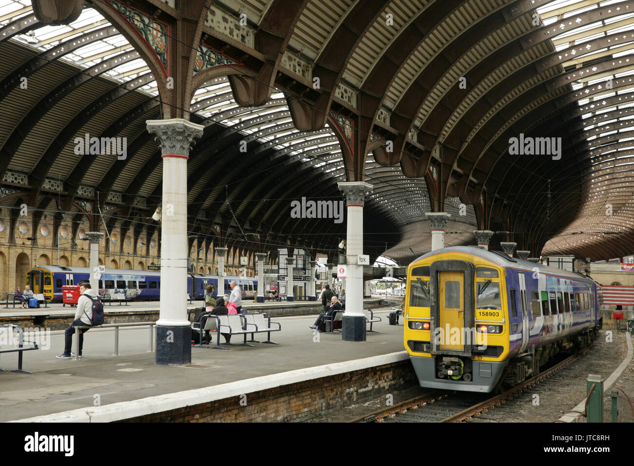 Northern rail class 158 diesel multiple units standing at York station, UK - Stock Image
