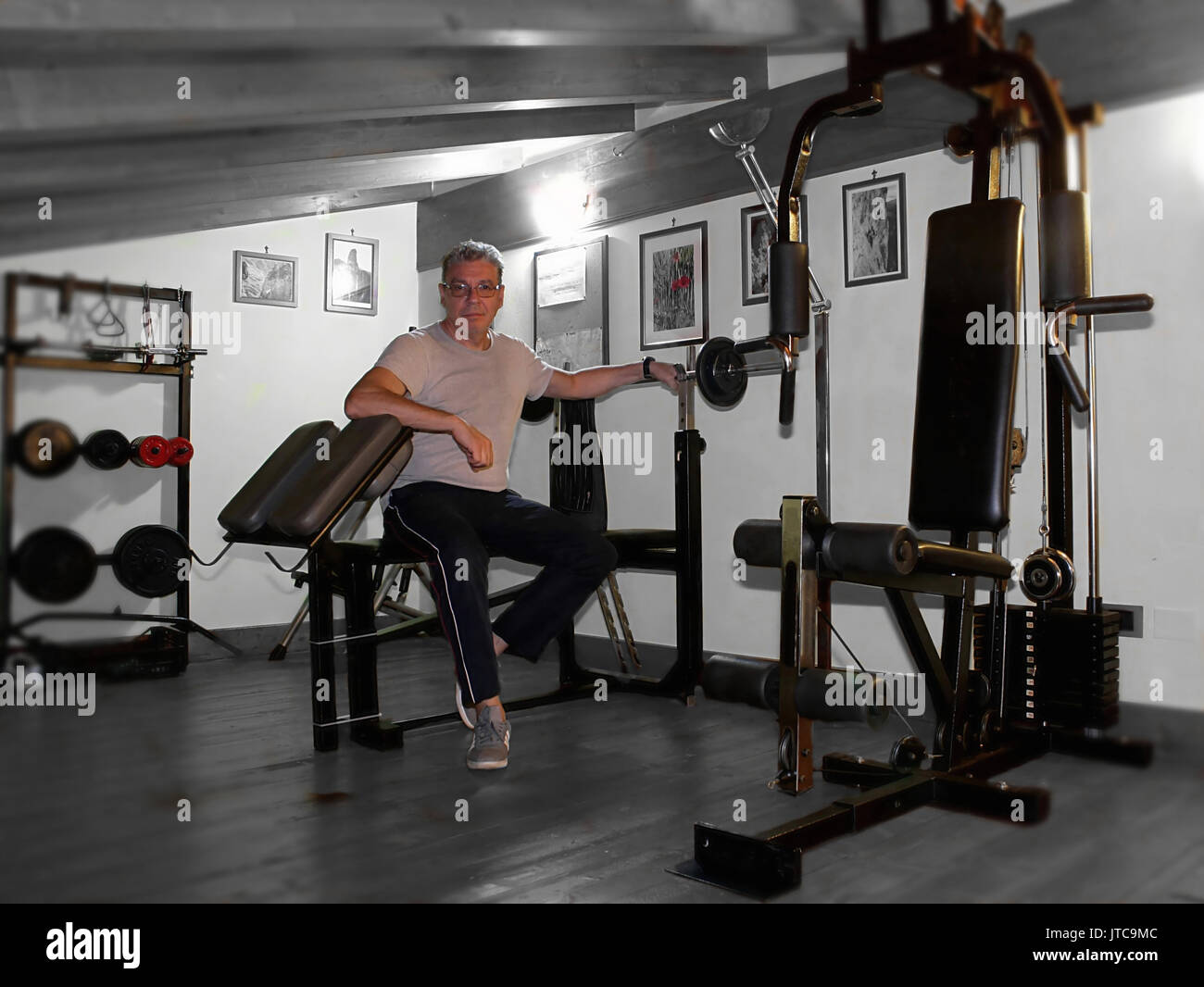 Home gym in the attic - Stock Image