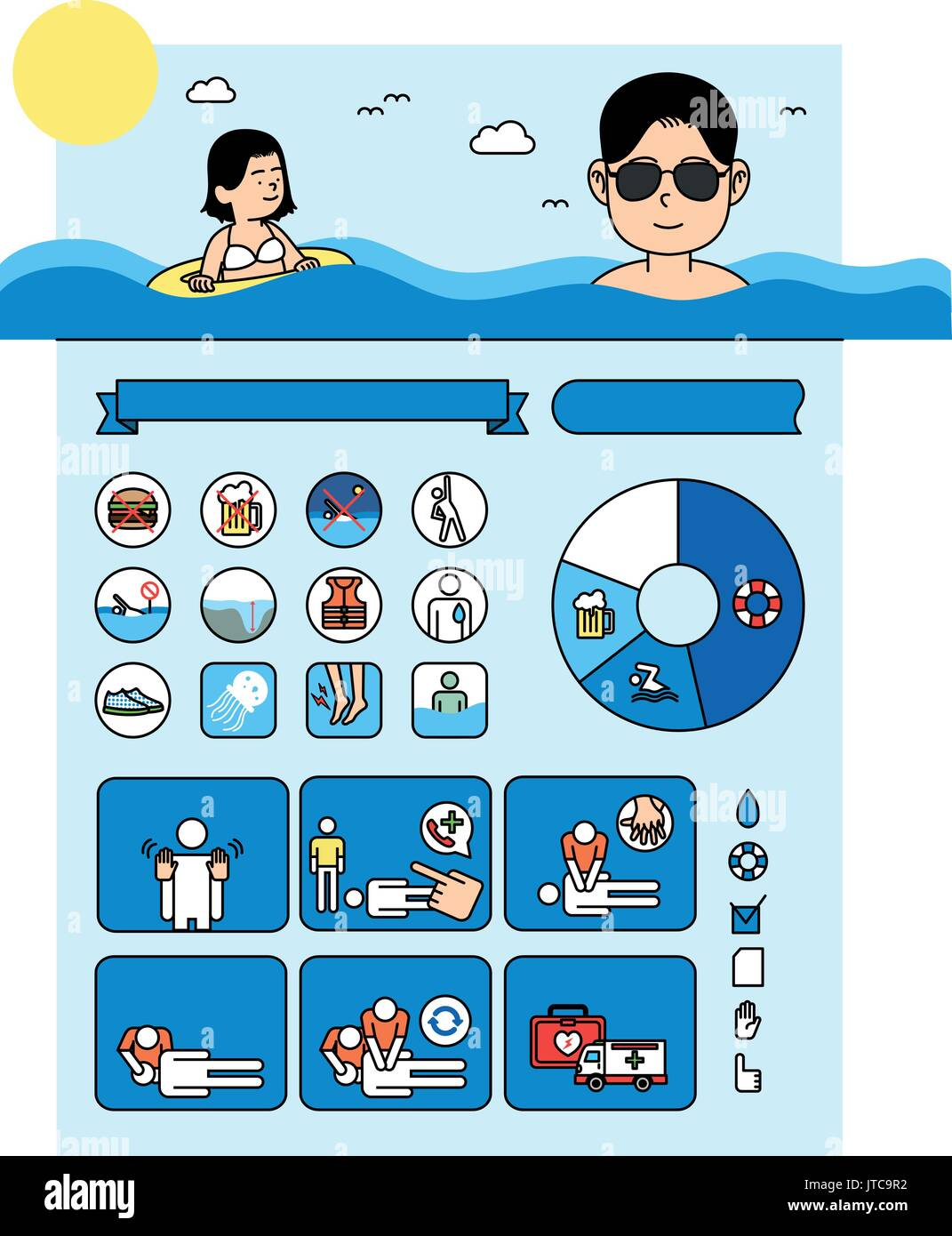Health and safety regulations in summer - Stock Vector