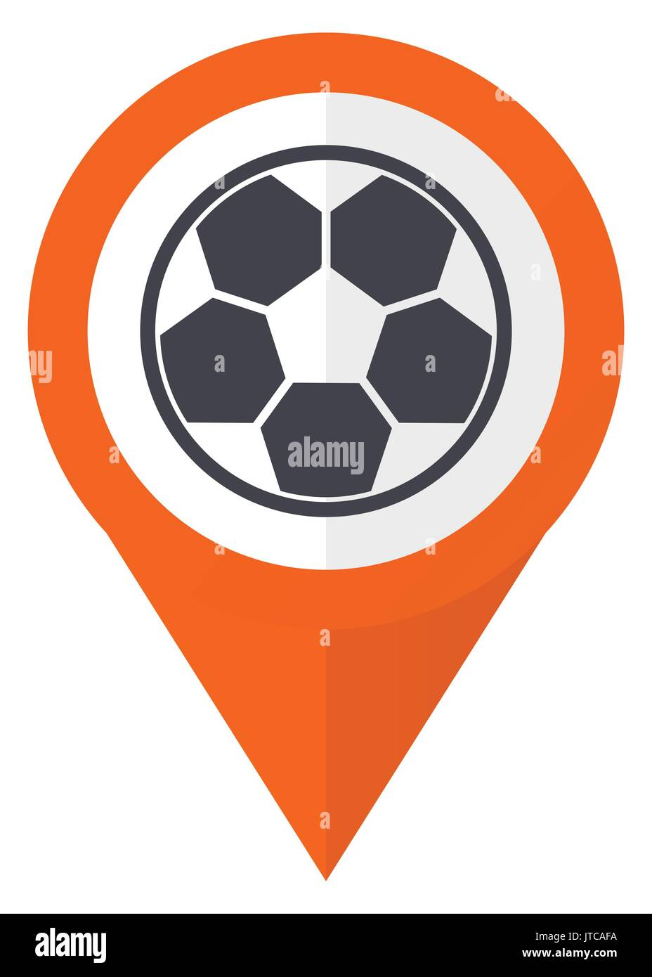 Soccer orange pointer vector icon in eps 10 isolated on white background. - Stock Vector