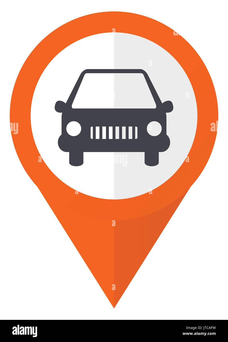 Car orange pointer vector icon in eps 10 isolated on white background. - Stock Image