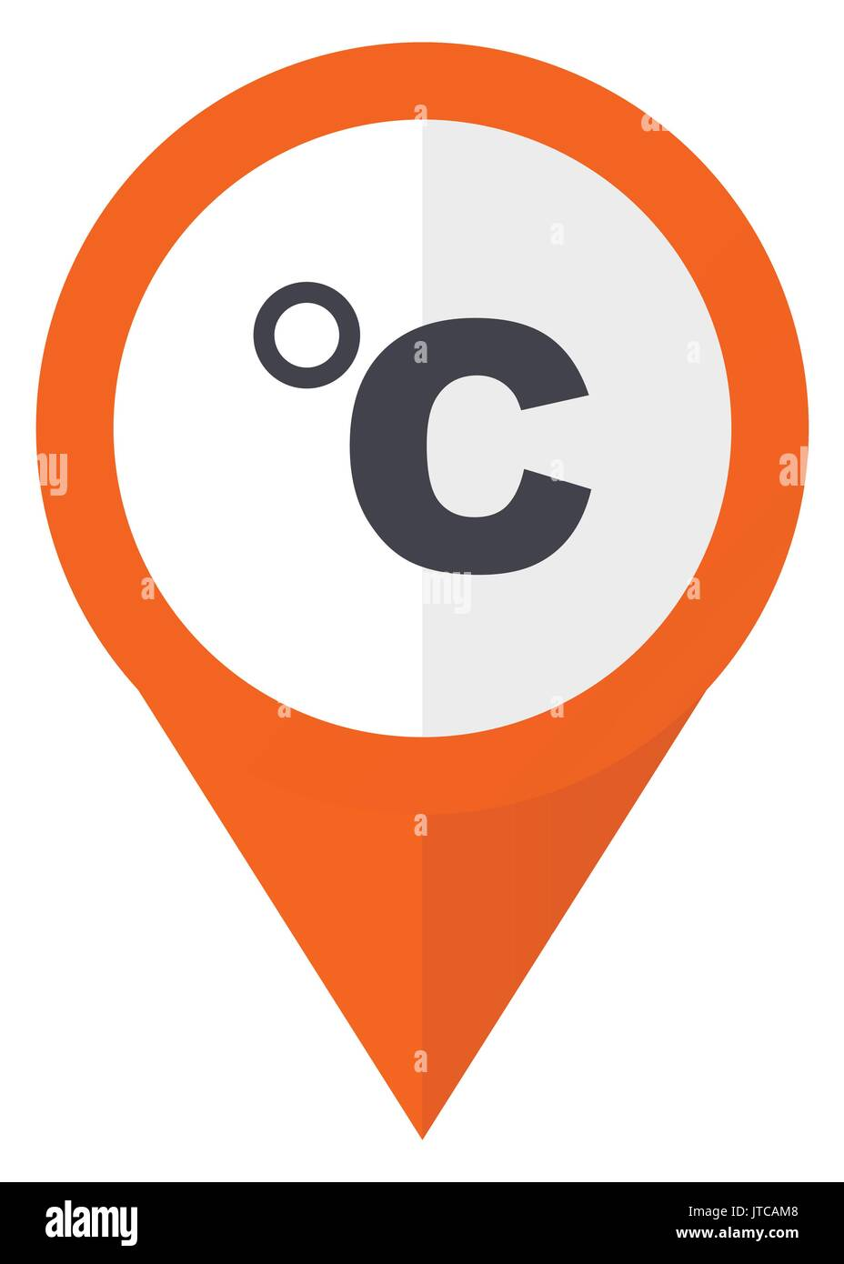 Celsius orange pointer vector icon in eps 10 isolated on white background. - Stock Vector