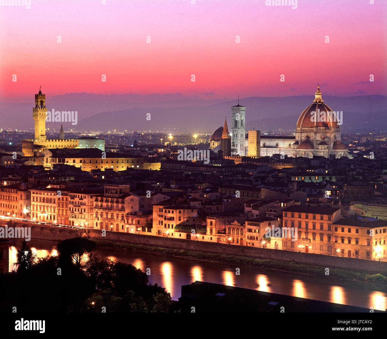 Overview of Florence at dusk from Piazzale Michelangelo with city of Florence in background, Lombardy, Italy - Stock Image