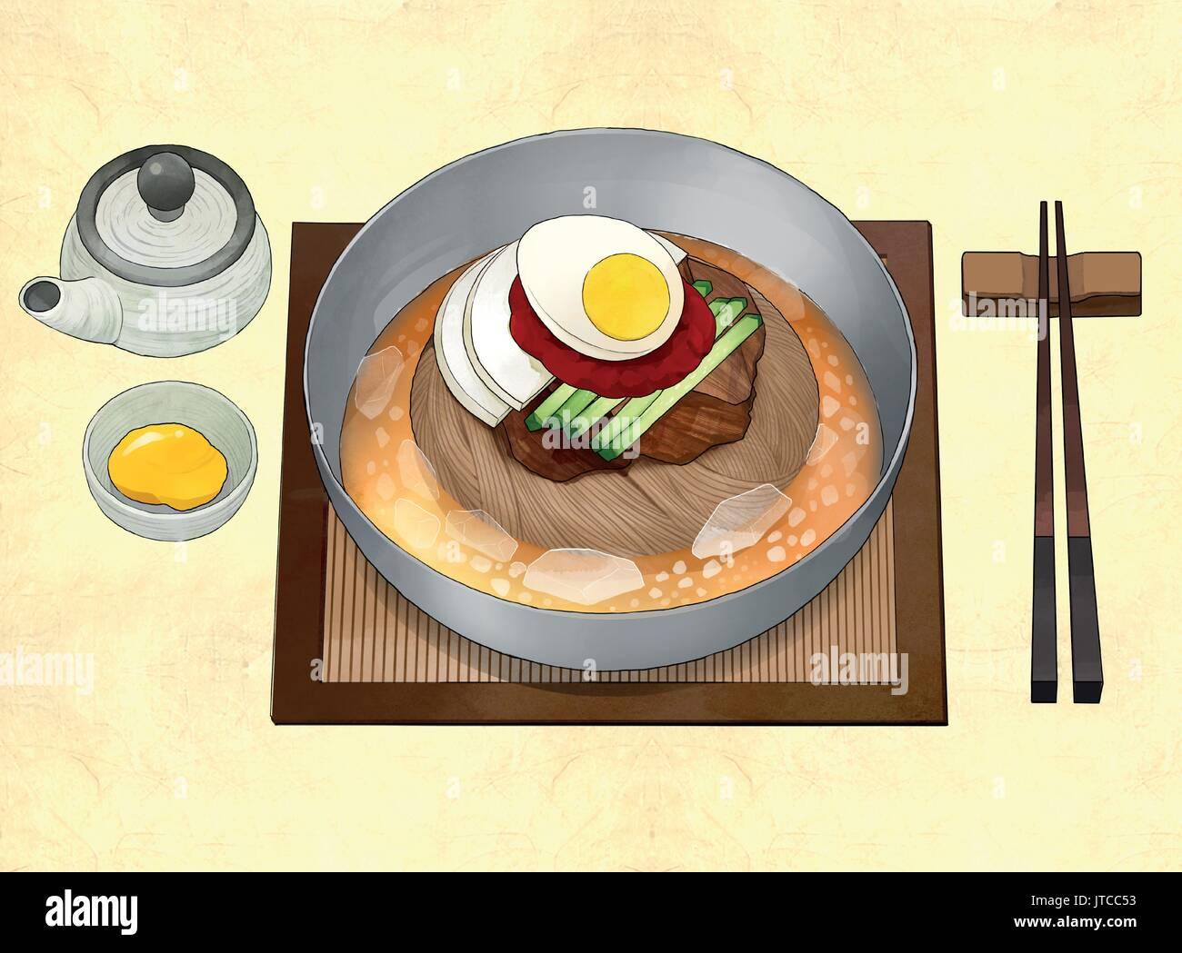 Korean food illustration - Stock Image