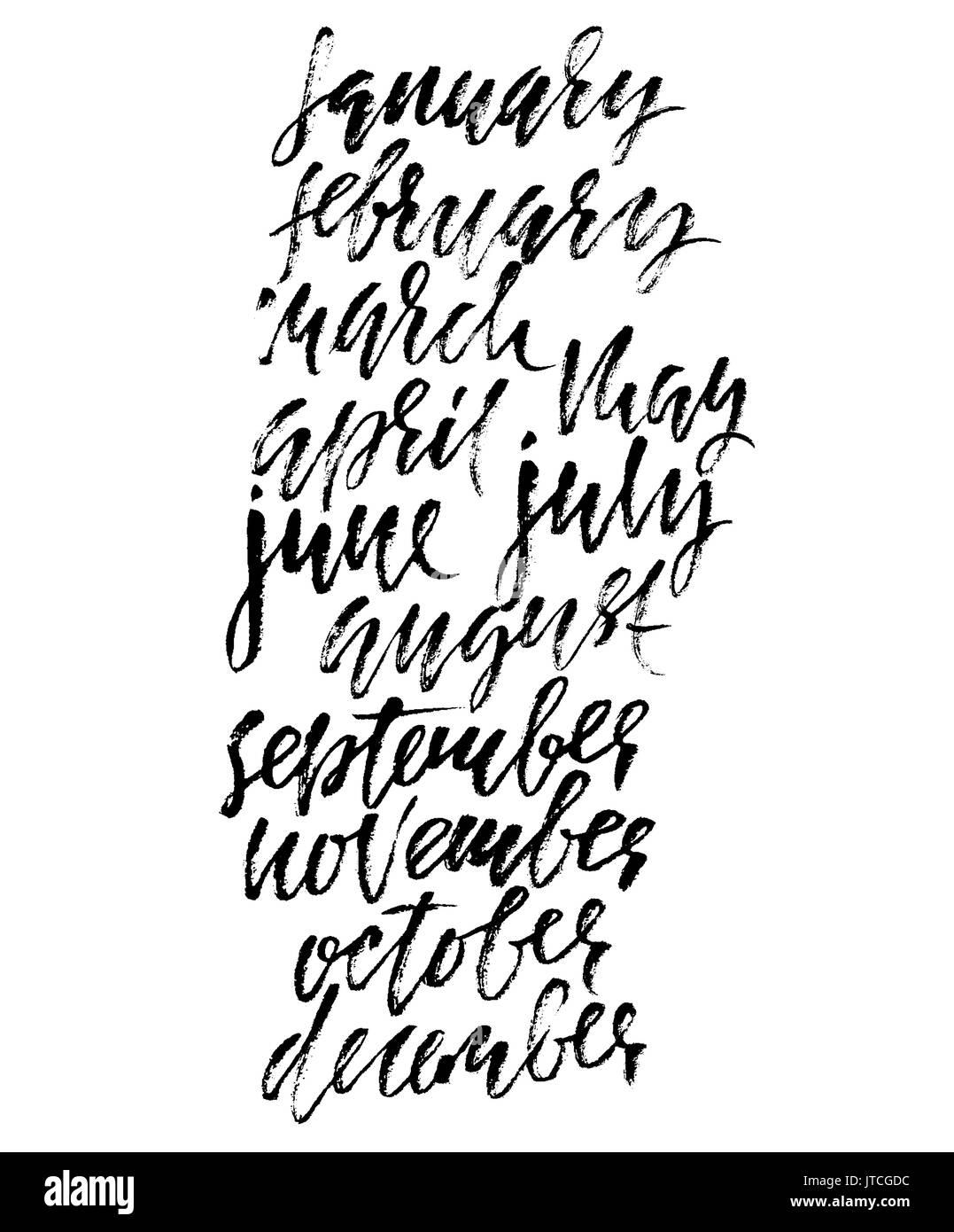 Modern Dry Brush Lettering Names Of The Months Vector Illustration Handwritten Grunge Inscription