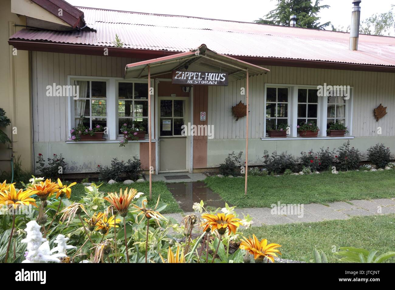 """The """"Zippel-Haus"""" in Villa Baviera - formerly the meeting hall of the infamous Colonia Dignidad - now is a restaurant. Stock Photo"""