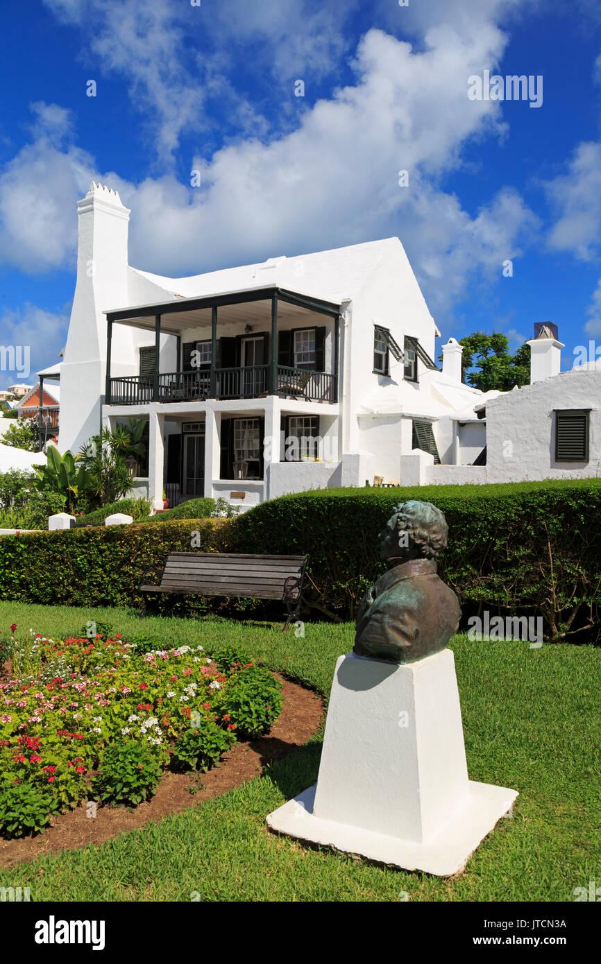 Sir Thomas Moore Bust & Bridge House, St. George, St. George's Parish, Bermuda - Stock Image